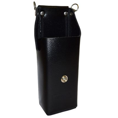 LAA0435 Solid Front Leather Holster D-Swivel Clip, Use with High Capacity Batteries for RELM BK Radio DPH, GPH